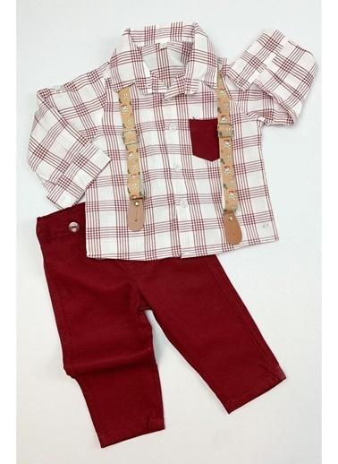 By Bebek Odam Askılı Çizgili Gömlek Pantolon Erkek Bebek Takım Bordo